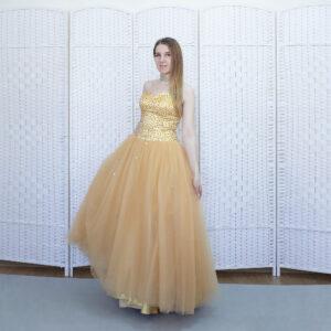 Золотое платье на выпускной вечер